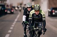 Christopher Juul-Jensen (DEN/Michelton-Scott)<br /> <br /> Omloop Het Nieuwsblad 2018<br /> Gent &rsaquo; Meerbeke: 196km (BELGIUM)