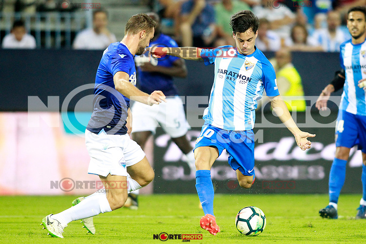 Malaga CF's Juanpi Anor (r) and SS Lazio's Stefan de Vrij during XXXIII Costa del Sol Trophy. August 5,2017. (ALTERPHOTOS/Acero) /NortePhoto.com