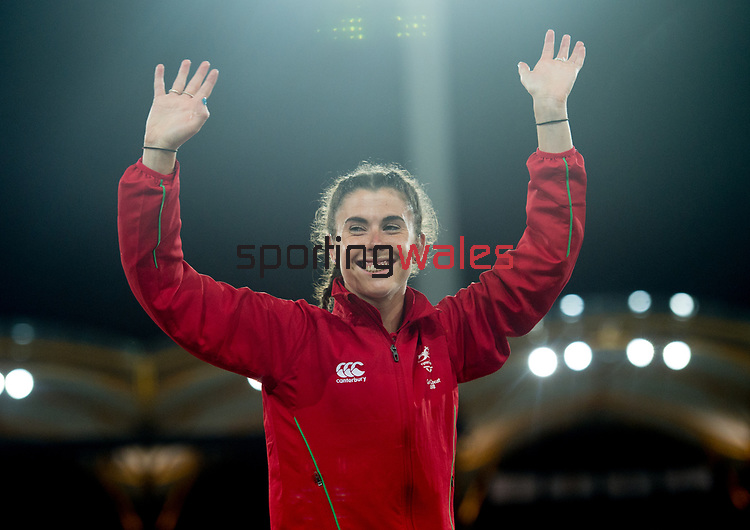Wales Olivia Breen (para) with her Bronze medal in Woman's T38 100m Final <br /> <br /> *This image must be credited to Ian Cook Sportingwales and can only be used in conjunction with this event only*<br /> <br /> 21st Commonwealth Games - Athletics -  Day 8 - 12\04\2018 - Carrara Stadium<br />  - Gold Coast City - Australia