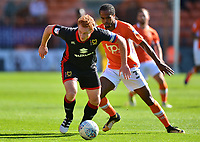 Milton Keynes Dons' Dean Lewington competes with Blackpool's Nathan Delfouneso<br /> <br /> Photographer Richard Martin-Roberts/CameraSport<br /> <br /> The EFL Sky Bet League One - Blackpool v Milton Keynes Dons - Saturday August 12th 2017 - Bloomfield Road - Blackpool<br /> <br /> World Copyright &copy; 2017 CameraSport. All rights reserved. 43 Linden Ave. Countesthorpe. Leicester. England. LE8 5PG - Tel: +44 (0) 116 277 4147 - admin@camerasport.com - www.camerasport.com