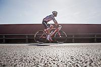 Italian Champion Giacomo Nizzolo (ITA/Trek-Segafredo) on his way to the start<br /> <br /> 12th Eneco Tour 2016 (UCI World Tour)<br /> Stage 6: Riemst › Lanaken (185km)