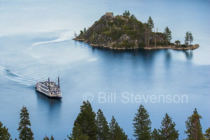 An image of the Tahoe Queen paddle wheeler passing Fannette Island in Emerald Bay