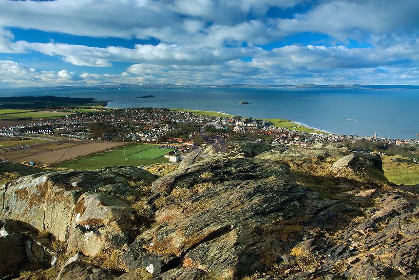 North Berwick, World War II Watch Tower and Fife from North Berwick Law, East Lothian Coastline