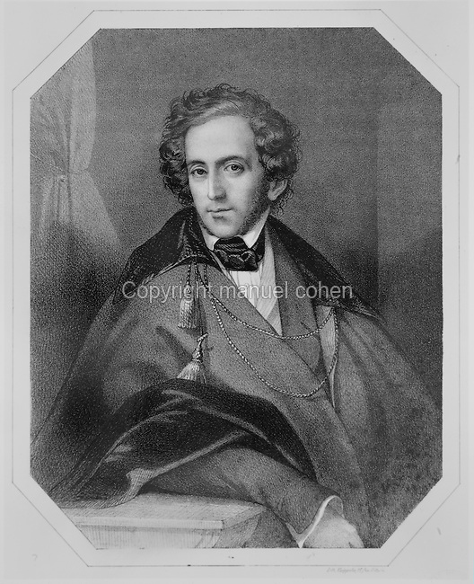 Portrait of Felix Mendelssohn, 1809-47, German Romantic composer, engraving, c. 1840, printed by Kaeppelin. Copyright © Collection Particuliere Tropmi / Manuel Cohen