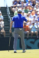 Zach Johnson (USA) sinks his putt on the 7th green during Saturday's Round 3 of the 118th U.S. Open Championship 2018, held at Shinnecock Hills Club, Southampton, New Jersey, USA. 16th June 2018.<br /> Picture: Eoin Clarke | Golffile<br /> <br /> <br /> All photos usage must carry mandatory copyright credit (&copy; Golffile | Eoin Clarke)