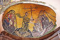 Byzantine mosaics of Christ i Nea Moni built by Constantine IX and Empress Zoe after the miraculous appearance of an Icon of the Virgin Mary at the site and inaugurated in 1049. Scene of a terrible sack and massacre of hundreds of Chiots and priests during the Ottoman sack of Chios in reprisal for the 1821 Greek War of Indipendance. Nea Moni monastery, Chios Island, Greece. A UNESCO World Heritage Site.