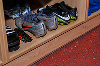 Football boots during the The Leasing.com Trophy match between Fleetwood Town and Liverpool U21 at Highbury Stadium, Fleetwood, England on 25 September 2019. Photo by Stephen Buckley / PRiME Media Images.