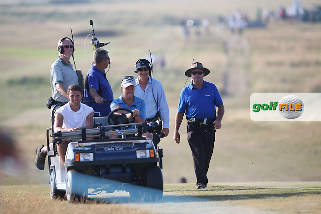 TV motley crew head up the 17th during Round One of the 2014 Senior Open Championship presented by Rolex from Royal Porthcawl Golf Club, Porthcawl, Wales. Picture:  David Lloyd / www.golffile.ie