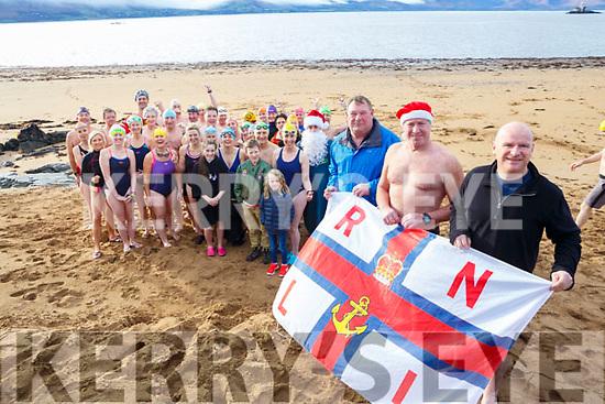 Fenit Beach Launch of Christmas Day Swim in aid of the Fenit RNLI. The Tralee Bay swimming club l-r, Mike O'Connor, (RNLI),  Kevin Williams  & Michael Slattery (Tralee Bay swimming Club).