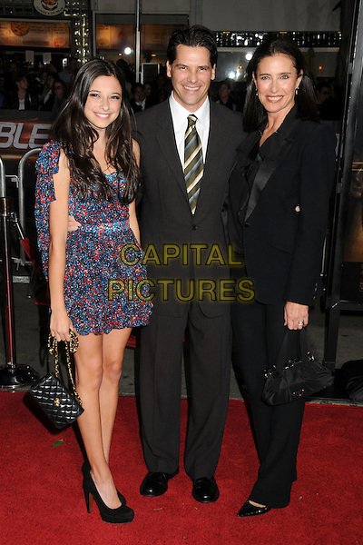 """LUCY JULIA ROGERS-CIAFFA, CHRIS CIAFFA & MIMI ROGERS.""""Unstoppable"""" Los Angeles Premiere held at the Regency Village Theatre, Westwood, California, USA..October 26th, 2010.full length dress black suit jacket blazer mother mom mum daughter family blue pink print couple married husband wife father dad family.CAP/ADM/BP.©Byron Purvis/AdMedia/Capital Pictures."""