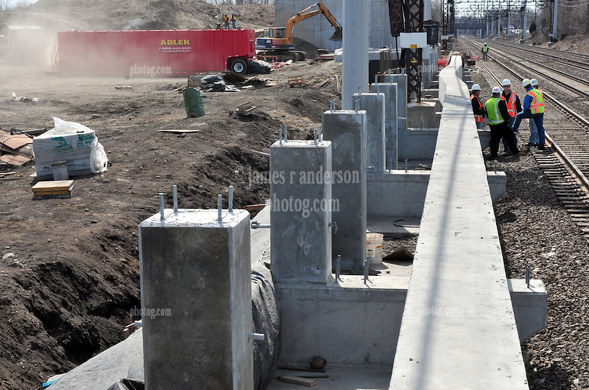 Platform footings. Construction Progress Photography of the Railroad Station at Fairfield Metro Center - Site visit 9 of once per month Chronological Documentation.