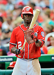 22 July 2012: Washington Nationals outfielder Roger Bernadina prepares his bat while on deck against the Atlanta Braves at Nationals Park in Washington, DC. The Nationals defeated the Braves 9-2 to split their 4-game weekend series. Mandatory Credit: Ed Wolfstein Photo