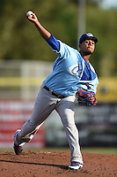 Daytona Cubs pitcher Felix Pena (30) delivers a pitch during a game against the Dunedin Blue Jays on April 14, 2014 at Florida Auto Exchange Stadium in Dunedin, Florida.  Dunedin defeated Daytona 1-0  (Mike Janes/Four Seam Images)