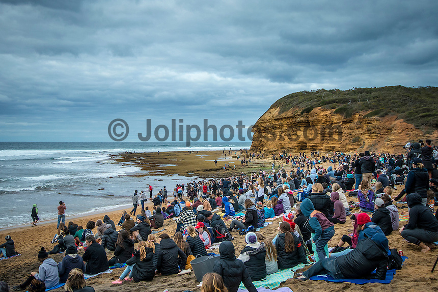 BELLS BEACH, Victoria/AUS (Monday, March 28, 2016) - Action at the Rip Curl Pro Bells Beach, the second stop on the World Surf League (WSL) Championship Tour (CT), continued today with the remaining six heats of Round Three before the contest was called off for the day.<br /> There were onshore South West winds throughout the day with a dropping swell in the 3'-5' range. <br /> The Heritage Round with Damien Hardman (AUS) and Barton Lynch (AUS) was held today with Lynch coming out victorious. <br /> <br /> Bells Beach has been hosting surfing tournaments for more than 50 years now, making it the most renowned spot on the raw and rugged southern coast of Victoria, Australia. The list of  Rip Curl Pro event champions is a veritable who's who of surfing icons, including many world champions.<br /> <br /> Surfing's greats have a way of dominating Bells. Mark Richards, Kelly Slater, and Mick Fanning all have four Bells trophies; Michael Peterson and Sunny Garcia, three; While Simon Anderson, Tom Curren, Joel Parkinson, Andy Irons, and Damien Hardman each grabbed a pair.<br /> <br /> The story is similar on the women's side. Lisa Andersen and Stephanie Gilmore have four Bells titles; Layne Beachley and Pauline Menczer, three; while Kim Mearig and Sally Fitzgibbons each have two.<br /> <br /> The 2016 event is about to kick off tomorrow and there was a packed warm up session at Bells this morning. <br /> Photo: joliphotos.com