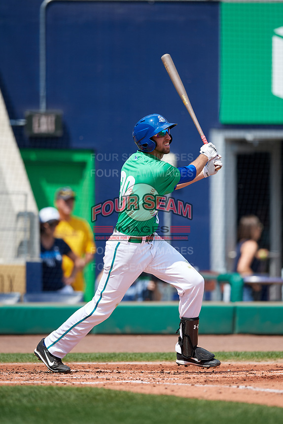 Hartford Yard Goats second baseman Brandon Bednar (39) flies out during a game against the Trenton Thunder on August 26, 2018 at Dunkin' Donuts Park in Hartford, Connecticut.  Trenton defeated Hartford 8-3.  (Mike Janes/Four Seam Images)