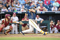 Michigan Wolverines outfielder Jesse Franklin (7) follows through on his swing during Game 6 of the NCAA College World Series against the Florida State Seminoles on June 17, 2019 at TD Ameritrade Park in Omaha, Nebraska. Michigan defeated Florida State 2-0. (Andrew Woolley/Four Seam Images)