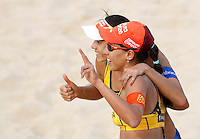 Brazil's Taiana Lima, right, and Talita Antunes celebrate at the Beach Volleyball World Tour Grand Slam, Foro Italico, Rome, 22 June 2013. Brazil defeated Germany 2-1.<br /> UPDATE IMAGES PRESS/Isabella Bonotto