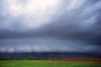 A classic shelf cloud approaches agricultural fields south of Childress Texas in June. Such storms can produce copious amounts of rain along with high winds and damaging hail.