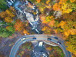 Location:  Kaaterskill Waterfall, New York<br /> <br /> A bird's eye view shows off the full spectrum of autumn's colours.  With many trees turning shades of autumnal orange, bold evergreens - primarily balsam fir and red spruce trees - provide stark contrast.<br /> <br /> The multi-coloured landscape was captured in a series of striking photos across north eastern USA, using a drone.  All five areas pictured - Lakewood in Pennsylvania, Killington in Vermont, Lincoln in New Hampshire, Cannonsville Reservoir and Kaaterskill Falls, both in New York - are a far cry from the major cities the region is perhaps best known for.  SEE OUR COPY FOR DETAILS.<br /> <br /> Please byline: Rahul Phutane/Solent News<br /> <br /> © Rahul Phutane/Solent News & Photo Agency<br /> UK +44 (0) 2380 458800