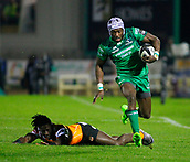 4th November 2017, Galway Sportsground, Galway, Ireland; Guinness Pro14 rugby, Connacht versus Cheetahs; Niyi Adeolokunr runs for the line to score the opening try of the game for Connacht in the 13th minute