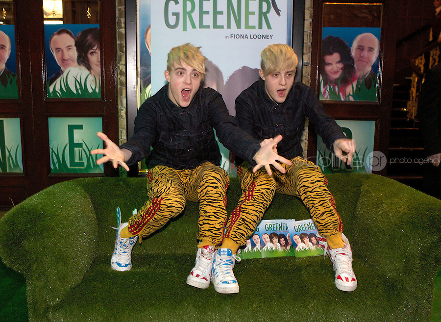 NO FEE PICTURES 1/5/12 Jedward at the opening night of the world premiere of Fiona Looney's new play Greener at the Gaiety Theatre, Dublin. Picture:Arthur Carron/Collins