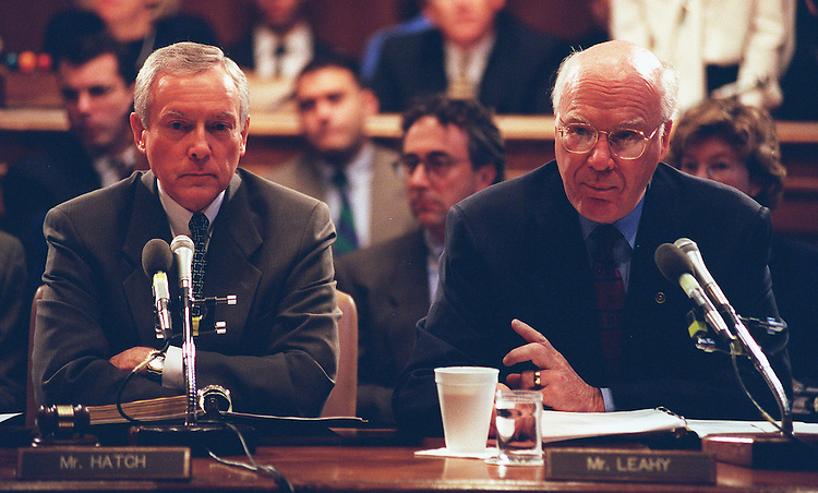 11/6/97.NOMINATION VOTE:Chairman Orrin G.Hatch,R-Utah,and Ranking Member Patrick J. Leahy,D-Vt., during the Senate Judiciary Committee votes on pending nomination of Bill Lan Lee for Civil Rights Director..CONGRESSIONAL QUARTERLY PHOTO BY DOUGLAS GRAHAM
