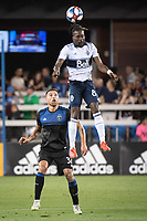 SAN JOSE, CA - AUGUST 25: Guram Kashia #37 of the San Jose Earthquakes and Tosaint Ricketts #87 of the Vancouver Whitecaps during a game between Vancouver Whitecaps FC and San Jose Earthquakes at Avaya Stadium on August 24, 2019 in San Jose, California.