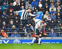Max Ehmer of Gillingham left wins a header from Jamal Lowe of Portsmouth during Portsmouth vs Gillingham, Sky Bet EFL League 1 Football at Fratton Park on 6th October 2018