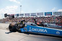 Sep 29, 2019; Madison, IL, USA; NHRA top fuel driver Leah Pritchett (near) alongside Austin Prock during the Midwest Nationals at World Wide Technology Raceway. Mandatory Credit: Mark J. Rebilas-USA TODAY Sports
