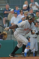 Xavier Avery #32 of the Frederick Keys batting in a game against the Myrtle Beach Pelicans on April 30, 2010 in Myrtle Beach, SC.