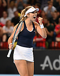 Katie Boulter (Great Britain) celebrfates. Rubber 2. Great Britain v Kazakhstan. World group II play off in the BNP Paribas Fed Cup. Copper Box arena. Queen Elizabeth Olympic Park. Stratford. London. UK. 20/04/2019. ~ MANDATORY Credit Garry Bowden/Sportinpictures - NO UNAUTHORISED USE - 07837 394578