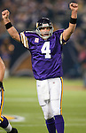 Minnesota Vikings quarterback Brett Favre (4) celebrates a touchdown pass during an NFL football game against the Green Bay Packers on October 5, 2009 in Minneapolis. (AP Photo/David Stluka)