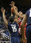 UNLV's Derrick Jones, Jr. shoots over Nevada's D.J. Fenner during a men's college basketball game in Reno, Nev., on Saturday, Jan. 23, 2016. Cathleen Allison/Las Vegas Review-Journal