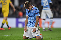 7th November 2019, Rome, Italy; UEFA Europa League football , group stages, Lazio versus Glasgow Celtic;  Ciro Immobile of Lazio looks dejected as his team lose the game - Editorial Use