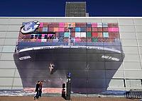 Nederland - Rotterdam -  2019. Muurschildering op de Wilhelminapier. Containerschip met de tekst : Rotterdam. Make It Happen.    Foto Berlinda van Dam / Hollandse Hoogte