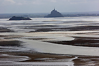 Europe/France/Normandie/Basse-Normandie/50/Baie du Mont-Saint-Michel: Env de Saint-Jean-Le-Thomas: Vue sur la Baie du Mont-Saint-Michel  depuis les Falaises de Champeaux //    France, Manche (50), Champeaux, Mont Saint Michel bay, since  Champeaux cliff