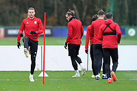 Chris Gunter (left)  of Wales in action during the Wales Training Session at The Vale Resort, Hensol, Wales, UK. Monday 19 November 2018