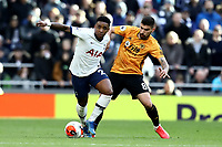 1st March 2020; Tottenham Hotspur Stadium, London, England; English Premier League Football, Tottenham Hotspur versus Wolverhampton Wanderers; Steven Bergwijn of Tottenham Hotspur takes on Ruben Neves of Wolverhampton Wanderers