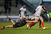 3rd February 2019, AJ Bell Stadium, Salford, England; Premiership Rugby Cup, Sale Sharks versus Newcastle Falcons; Ryan Burrows of Newcastle Falcons tackles Luke James of Sale Sharks