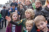 Peter Street Teelans at the back<br /> St Patricks Day Parade route from George Street through Fair Street Peter Street Shop Street and ending some where down along the North Quay