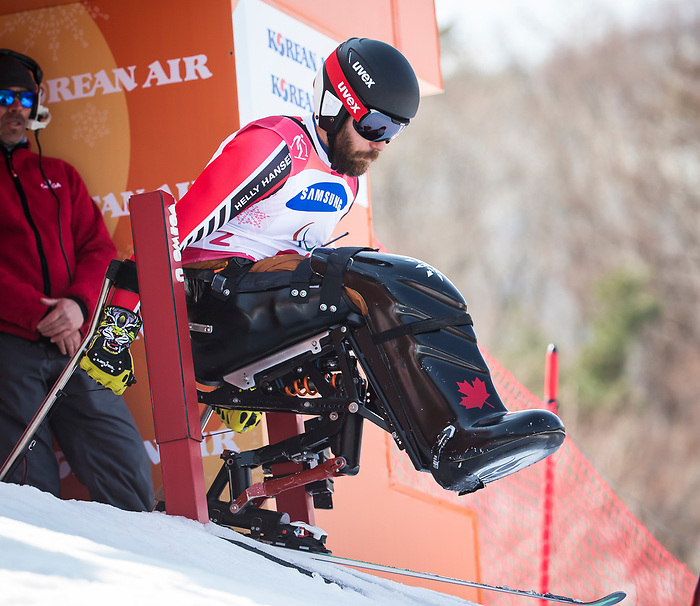 PyeongChang 14/3/2018 - Kurt Oatway at the start of the giant slalom at the Jeongseon Alpine Centre during the 2018 Winter Paralympic Games in Pyeongchang, Korea. Photo: Dave Holland/Canadian Paralympic Committee