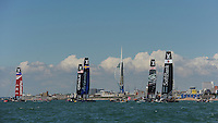 General view of racing, JULY 23, 2016 - Sailing: General view of racing in front of the Emirates Spinnaker Tower during day one of the Louis Vuitton America's Cup World Series racing, Portsmouth, United Kingdom. (Photo by Rob Munro/Stewart Communications)