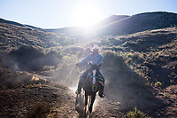 Local guide and horseman Juan leads the way to Wirikuta/El Quemando one of the most sacred sites of the Wixarica (Huichol) indigenous groupls. The former mining town of Real de Catorce, San Luis Potosi, Mexico