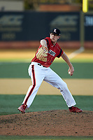 Louisville Cardinals relief pitcher Nick Bennett (8) in action against the Wake Forest Demon Deacons at David F. Couch Ballpark on March 17, 2018 in  Winston-Salem, North Carolina.  The Cardinals defeated the Demon Deacons 11-6.  (Brian Westerholt/Four Seam Images)