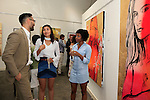 SANTA MONICA - JUN 25: Simon Phan, Sydney Schafer, Guest at the David Bromley LA Women Art Exhibition opening reception at the Andrew Weiss Gallery on June 25, 2016 in Santa Monica, California