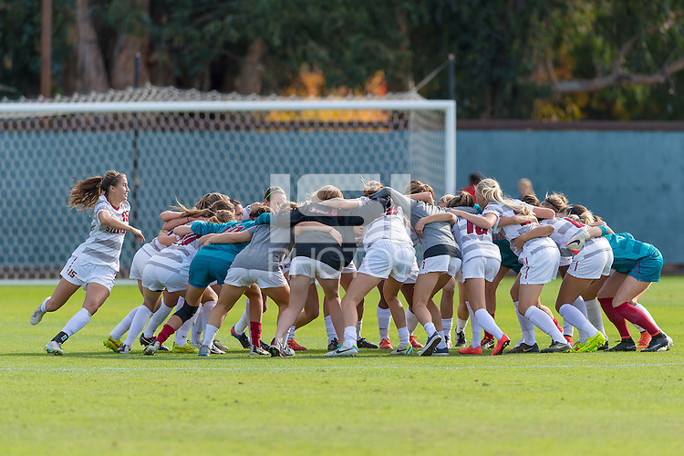 STANFORD, CA - November 23, 2014: Team during the Stanford vs Arkansas NCAA women's third round soccer match in Stanford, California.  The Cardinal defeated the Huskies 1-0.