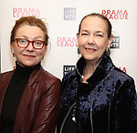 Julie White and Harriet Harris attends the 2018 Drama League Awards nominees at Sardi's on April 18, 2018 in New York City.