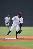 GCL Yankees East shortstop Angel Rojas (20) during a Gulf Coast League game against the GCL Phillies East on July 31, 2019 at Yankees Minor League Complex in Tampa, Florida.  GCL Phillies East defeated the GCL Yankees East 4-3 in the second game of a doubleheader.  (Mike Janes/Four Seam Images)
