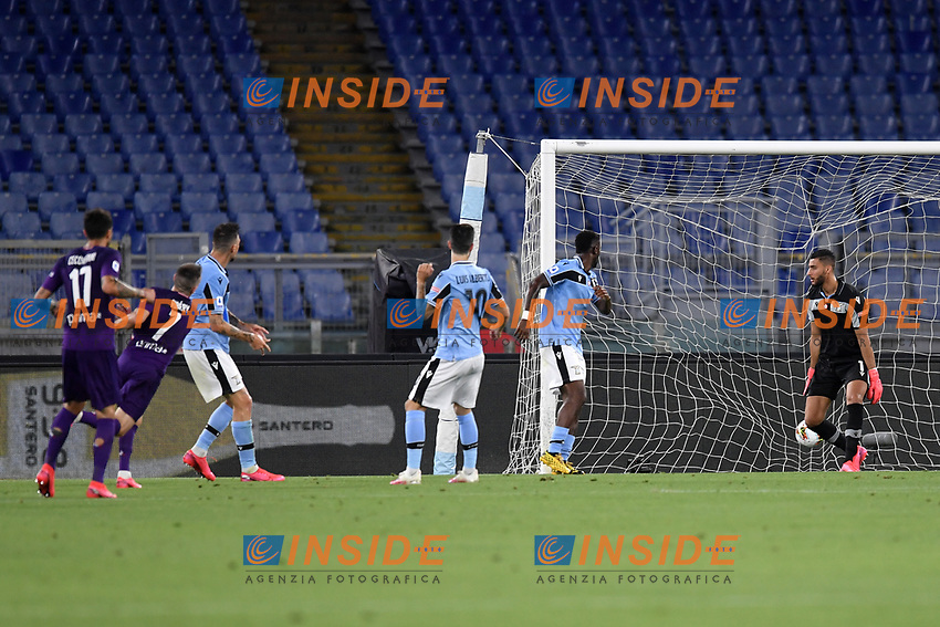 Franck Ribery of Fiorentina scores the goal of 0-1 during the Serie A football match between SS Lazio and ACF Fiorentina at stadio Olimpico in Roma ( Italy ), June 27th, 2020. Play resumes behind closed doors following the outbreak of the coronavirus disease. Photo Antonietta Baldassarre / Insidefoto