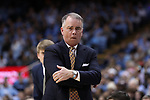 CHAPEL HILL, NC - DECEMBER 20: Wofford head coach Mike Young. The University of North Carolina Tar Heels hosted the Wofford College Terriers on December 20, 2017 at Dean E. Smith Center in Chapel Hill, NC in a Division I men's college basketball game. Wofford won the game, upsetting UNC, 79-75.